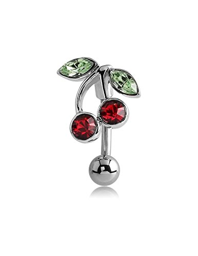Cherry Navel Ring - Pupick Bellybutton Ring Body Piercing Jewelry Surgical Steel Jeweled Reverse Navel Banana - Cherries 14g Multiple Style