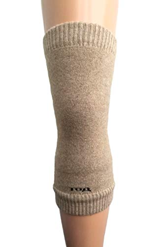 (Men Women Knee Braces Warm Soft 70% Camel Wool Kneepads Beige Long Arthritis, 1 Pair. Made in Mongolia.)