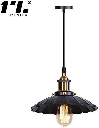 Industrial Pendant Light E26 Base Vintage Hanging Light Lace Shape Retro Pendant Light Fixture Adjustable Cord Black Finish Metal Shade for Kitchen