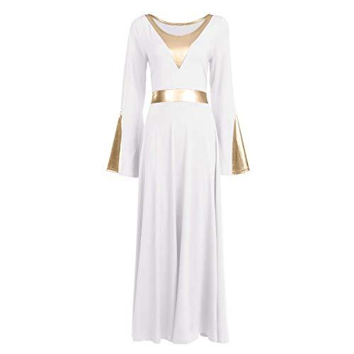 Women Metallic Color Block Liturgical Praise Dance Dress Bell Long Sleeve Lyrical Dancewear Gowns Worship Costume White + Gold M