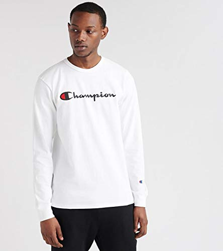 Champion LIFE Men's Heritage Long Sleeve Tee, White/Ink Graphic/Script, ()