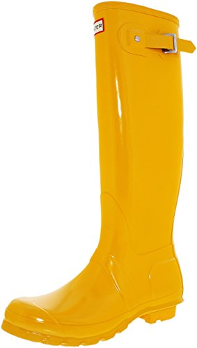 Hunter Women's Original Tall Gloss Yellow Knee-High Rubber Rain Boot - 7M