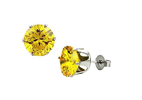 TomSunlight Titanium steel Round Cubic Zirconia Diamond Birthstone Stud Earrings for Women