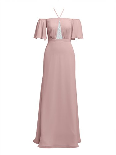 Women Alicepub Maxi Party Chiffon for Dresses Long Dress Silver Bridesmaid Prom Halter s Pink w11qxrXg