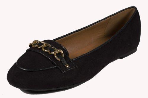 Fruma! Door Paprika Verfijnde En Klassieke Loafer Flats Met Gouden Ketting Detail Hardware En Leer-achtige Stiksels In Zwart