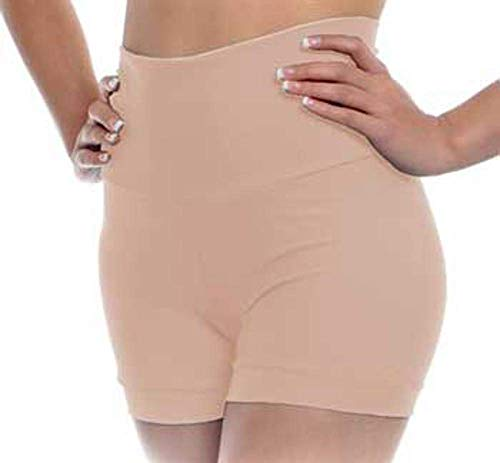 - B Dancewear Womens High Waisted Dance Shorts Medium Light Nude Adult Sizes with Fold Over Band and Stretch