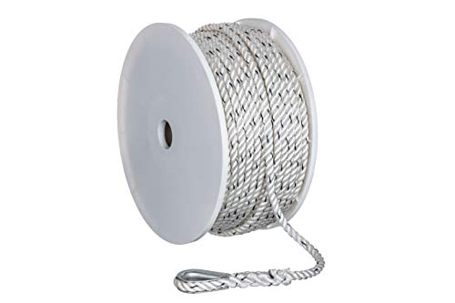 Seachoice 47911 Premium Anchor Rope for Boating - 3-Strand Twisted Nylon Anchor Line, ⅜-Inch x 200 Feet, White/Blue ()