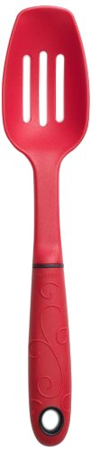 Norpro 1696 Grip-EZ 9.25-Inch Slotted Spoon, Mini, Red