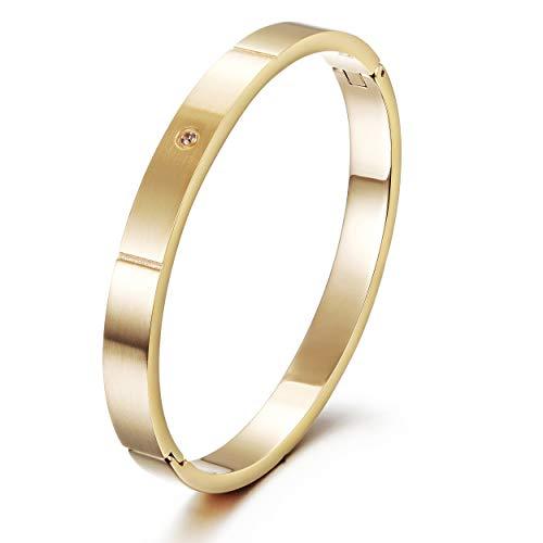 Wistic Gold Cuff Bangle Bracelet Stainless Steel Screw Bar Bracelet for Women Men Girls Boys (Gold 1580(Men))