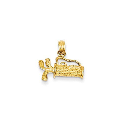 Mireval 14k Yellow Gold Solid Polished 3-Dimensional Golf Bag with Clubs Charm (14 x 16 mm) -