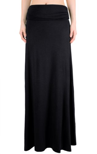 LeggingsQueen Women's High Waisted Fold Over Maxi Skirt (Black, Large)