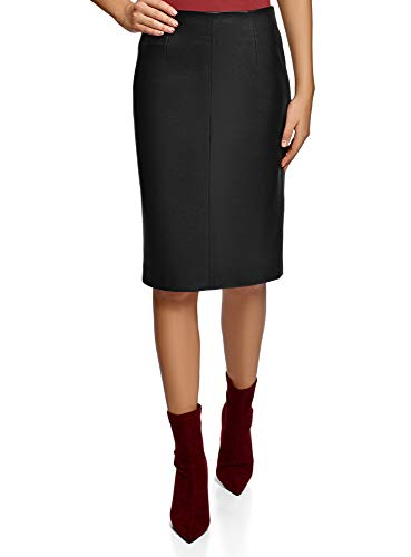 oodji Collection Women's Faux Leather Pencil Skirt, 8, Black (2900n)