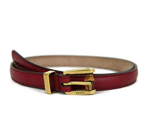 Gucci Women's Raspberry Leather Bamboo Buckle Skinny Belt 339065 6236 (90 / Women's 36)