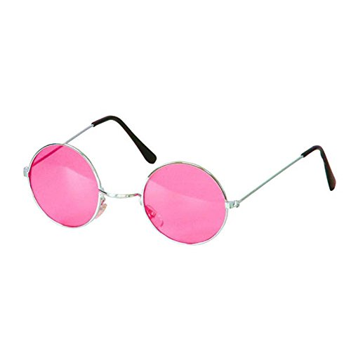 Gafas redondas hippies de color rosa.