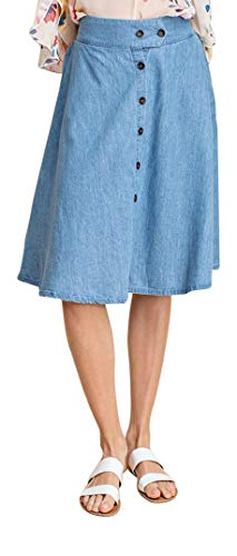 - GoModest Women's Midi Knee Length Denim Skirt|Casual Modest Chambray Jean Skirt (Small)