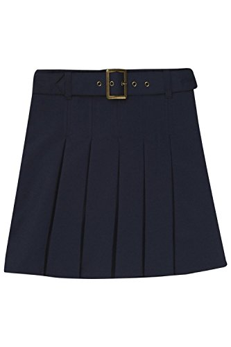French Toast Big Girls' Pleated Scooter with Square Buckle Belt, Navy, 16 by French Toast