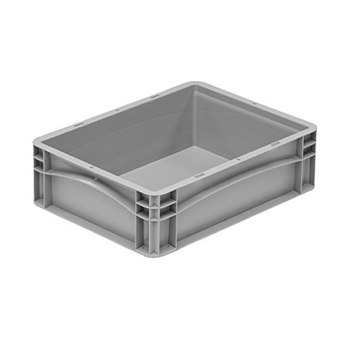 Pack of 5 - Grey Basicline 11.2 Litre Strong Plastic Euro Stacking Containers (40 x 30 x 12cm) Shallow Tray Stackable Boxes with Hand Grips and Solid Sides and Bases Bekuplast