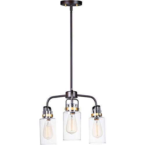- Pendants 3 Light Fixtures with Bronze and Gold Finish Steel and Glass Material MB 17