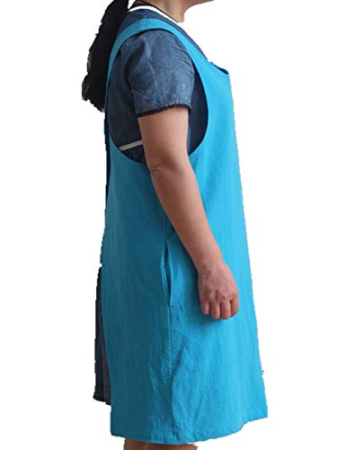 Soft Cotton Linen Apron Solid Color Halter Cross Bandage Aprons Japan Japanese Style X Shape Kitchen Cooking Clothes Gift for Women Chef Housewarming (Sky Blue)