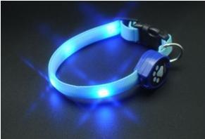 LED Flashing Lights Dog Collar with Blue LED Lights, Multi-Functional, Size Medium, My Pet Supplies