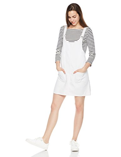 - Lily Parker Women's Junior Classic Denim Bib Overall Dress with Pocket (White, M)