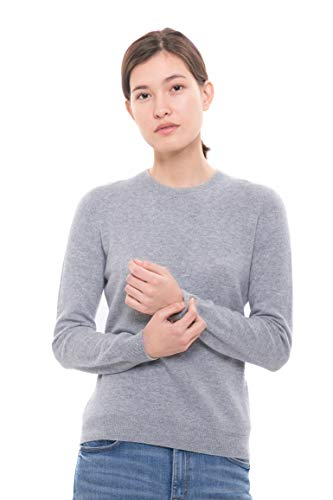 Goyo Cashmere Women's 100% Pure Cashmere Sweater - Long Sleeve Crewneck Pullover (Grey, L)