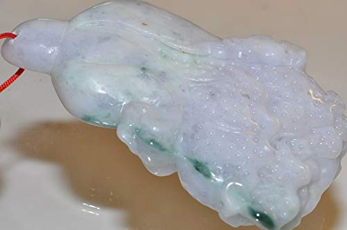 Jade Carved Pendant Genuine (✦ Bella-gems ✦ 40x68(Extra Large) x13mm -Genuine Type A (Untreated) Burmese Jadeite Jade Cabbage 3D Double-Sided Carved Pendant - L1199)