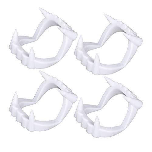 NUOBESTY Plastic Vampire Teeth - White Sharp Vampire Fangs Fake Werewolf Teeth for Halloween Party Favors Supplies - 4 Pack