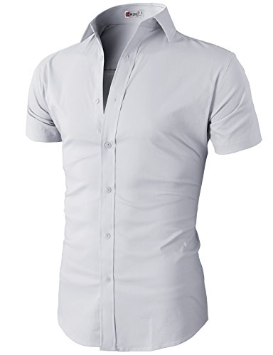 H2H Mens Casual Slim Fit Short Sleeves Button Down Shirt for Men White US M/Asia L (KMTSTS0132)