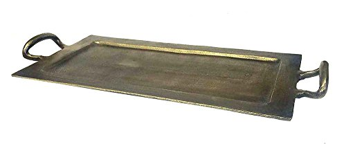 - Zuccor Cast Aluminum Serving Tray in Antique Bronze Finish, Large, 24