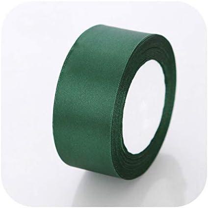 kawayi-桃 6mm 10mm 15mm 20mm 25mm 40mm 50mmサテンリボンホワイトピンクレッドブルーパープルグリーンブラックイエローオレンジリボン34色ピックアップ-49 Dark Green-25mm
