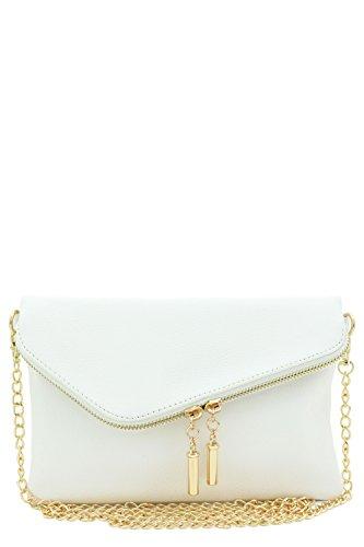 Envelope Wristlet Clutch Crossbody Bag with Chain Strap White (White Clutch Purse)