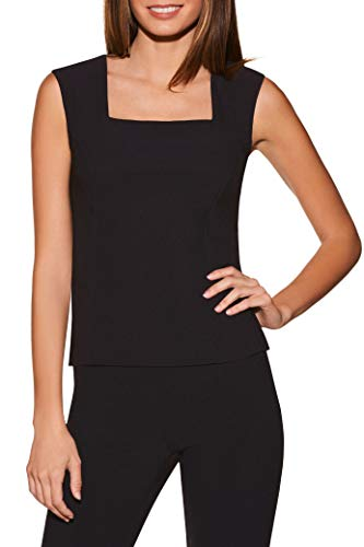 Sleeveless Neckline Top (Beyond Travel Women's Wrinkle-Resistant Basic Sleeveless Cropped Solid Color Knit Shell Top Jet Black Small)