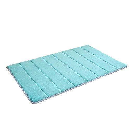 KLHNU Coral Velvet Carpet Vertical Stripes Memory Foam Mat Absorbent Slip-Resistant Pad Bathroom Shower Bath Mats(Sky Blue, 50 x 80cm/19.68x31.49inch)
