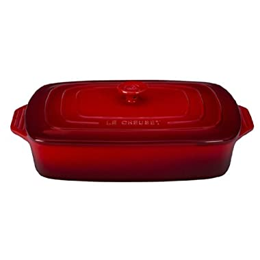 Le Creuset Stoneware Covered Rectangular Casserole, 12.5 by 8.5-Inch, Cerise (Cherry Red)