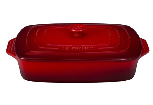 Le Creuset Stoneware Covered Rectangular Casserole, 12.5 by 8.5-Inch, Cerise (Cherry Red) - Le Creuset Stoneware Casserole