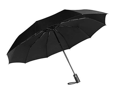 (Fancyskin Compact Windproof Reinforced Canopy Travel Umbrella Ergonomic Handle Auto Open/Close Black)