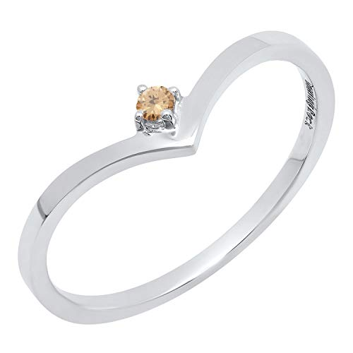Dazzlingrock Collection 0.05 Carat (ctw) 14K Round Champagne Diamond Solitaire Engagement Ring, White Gold, Size 4