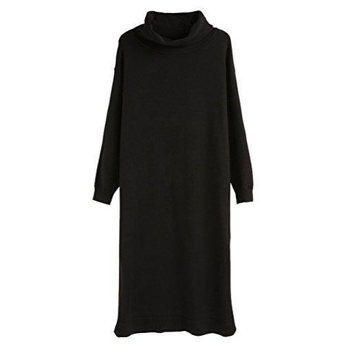 ZhiYuanAN Damen Strickkleider Maxi Strickpulli Kleid Straight Lange Jumper  Jerseykleid Dicke Warme Strickwaren Lässig Wilden Bequemen c0542a2b2c