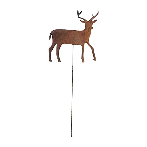 (Village Wrought Iron 35 Inch Deer Rusted Garden Stake)