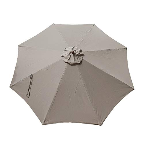 (Formosa Covers Replacement Umbrella Canopy for 11ft 8 rib Market Outdoor Patio Shades in Taupe Ribs length 64