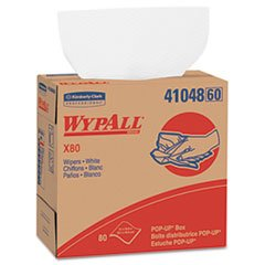 (Kimberly-Clark WYPALL X80 Wipers, 9 1/10 x 16 4/5, White, POP-up Box. Includes 80 Wipers Each)