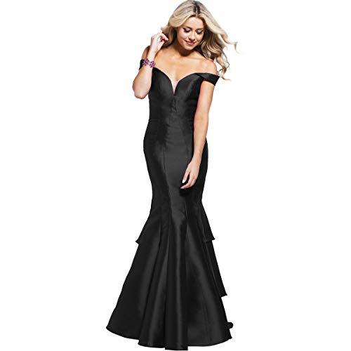 (JVN by Jovani Womens 59261A Prom Off-The-Shoulder Evening Dress Black 00)