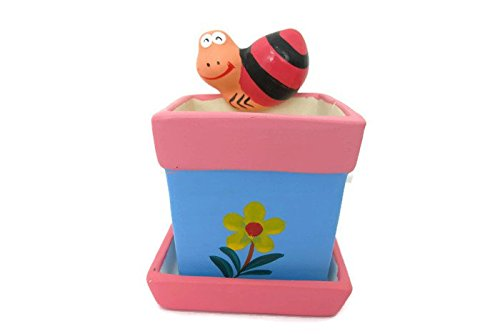 Snail and Flower Ceramic Potted Plants, Flower pot ceramic indoor outdoor,tabletop ceramic potted plants, Cute Ceramic planter, Plant pot, mini square plant pot(Blue&Pink)