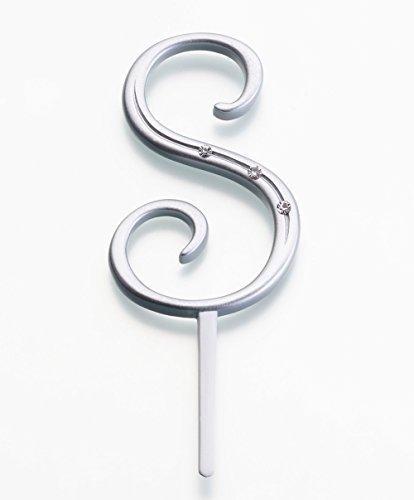 Toppers Lillian Rose Cake (Lillian Rose Rhinestone, Small, Monogram Letter S, Silver)