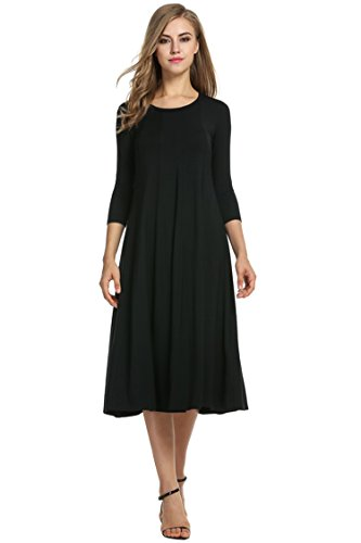 HOTOUCH Women's 3/4 Sleeve Casual Pleated Tshirt Dress (Black L)