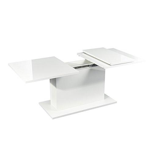 Mesa de comedor extensible de madera de alto brillo blanco para 6 a 8 personas, ahorro de espacio para comedor, granja, cocina, restaurante, extensible, 160 – 205 cm (blanco)