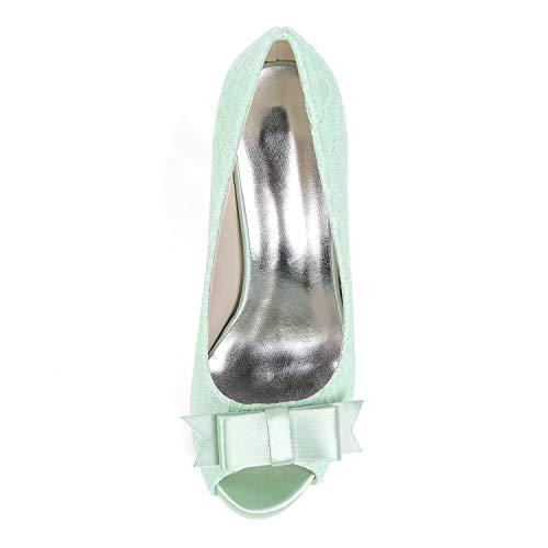 Kitten 35 toe Heels Toe yc Para Tamaño 42 Peep Mujer Evening Classic Green Zapatos Boda De L Satin HzZwagqz