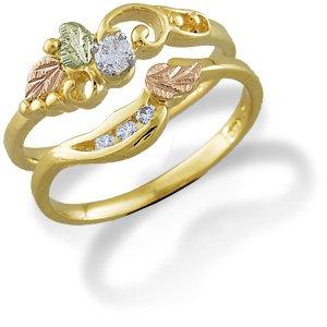 Landstroms 14K Black Hills Gold Womens Diamond Bridal Set (.16 tw)- Engagement Ring (.10 ct Diamond) and Wedding Ring (.06 ct) - Size 9.5