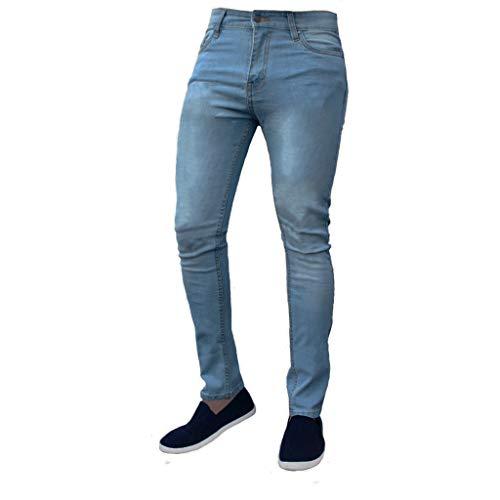 - ZEFOTIM Pants for Men Pure Color Denim Cotton Vintage Wash Hip Hop Work Trousers Jeans Pants(Blue,Large)